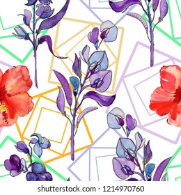 Seamless pattern with purple and red flowers, watercolor illustration, tile for wallpaper or fabric