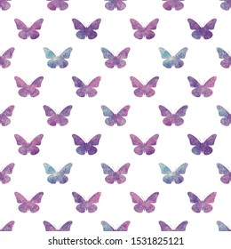 Seamless pattern with purple watercolor small butterflies on a white background. Simple feminine beautiful butterfly pattern for card, invitation, print, wrapping paper, decor.