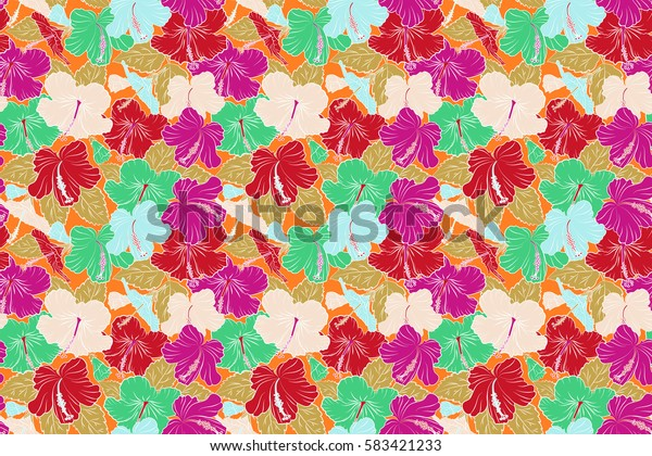 Seamless pattern Raster illustration. Seamless tropical flower, red and yellow hibiscus pattern.