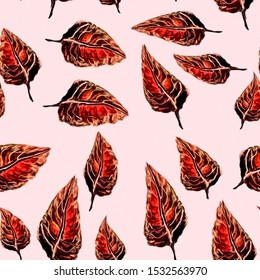 Seamless pattern with red autumn leaves on pink background in jpeg (watercolor and gouache)