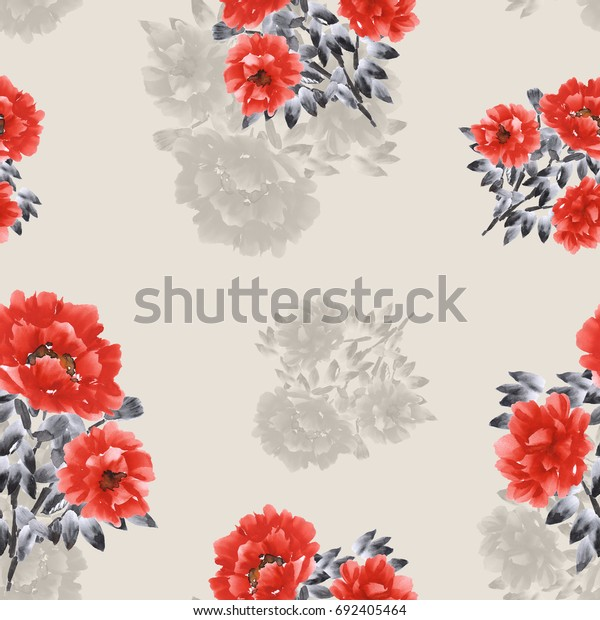 Seamless pattern of red and beige flowers of peonies on a beige background. Watercolor