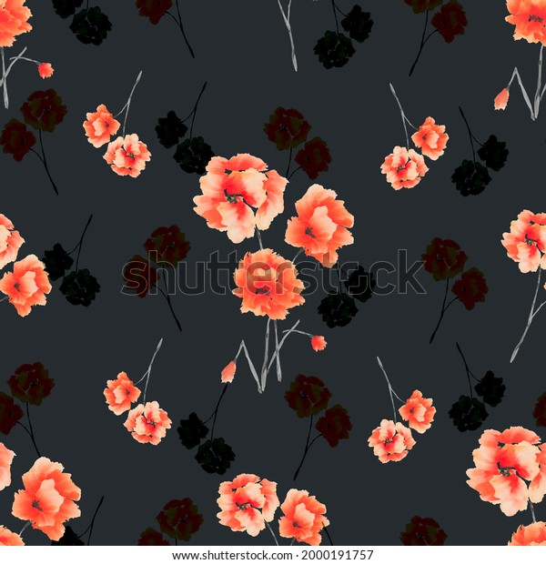 Seamless pattern of red and black flowers and bouquets on the black background. Watercolor