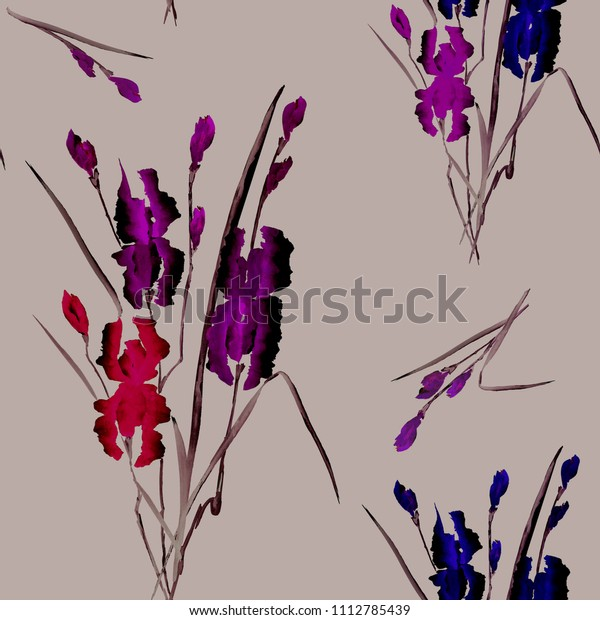 Seamless pattern of red, blue, violet flowers of iris on a deep beige background. Watercolor