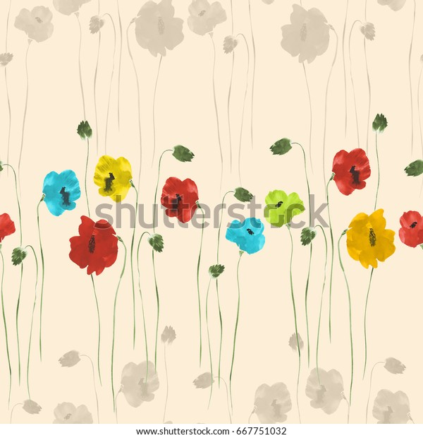 Seamless pattern of red, blue, yellow, green and beige flowers on a light beige background. Watercolor