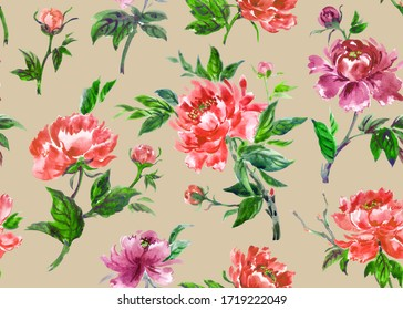 Seamless pattern of red Chinese peonies on a beige background, watercolor illustration. Floral print for fabric and other designs.
