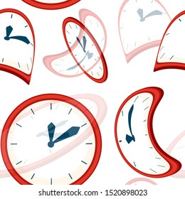 Seamless pattern. Red clock faces with blue pointers. Deformed and distorted clock face. Flat illustration on white background