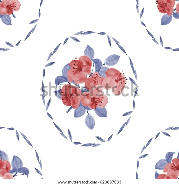 Seamless pattern of red flowers and blue leaves in a oval frame on a white background. Watercolor