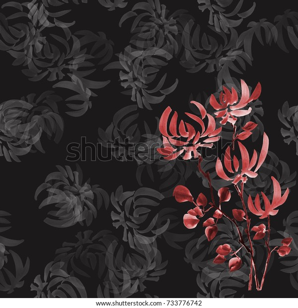 Seamless pattern red flowers of chrysanthemum on the black background. Watercolor.