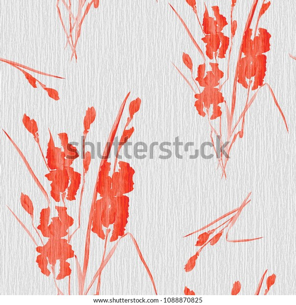 Seamless pattern of red flowers of iris on a gray linen  background. Watercolor