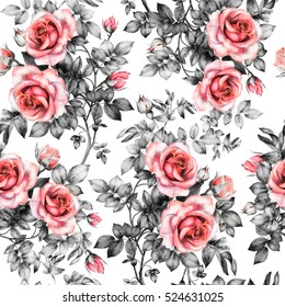 Seamless pattern with red flowers and leaves on white background, watercolor floral pattern, flower rose in pastel color, seamless flower pattern for wallpaper, card, fabric