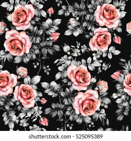 Seamless pattern with red flowers, leaves, watercolor floral pattern, flower rose, seamless flower pattern for wallpaper, card or fabric, pattern on black background