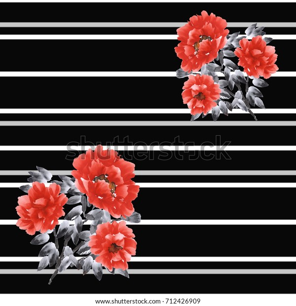 Seamless pattern of red flowers on a black background with gray and white horizontal stripes. Watercolor