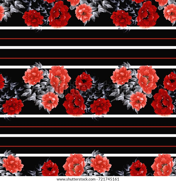 Seamless pattern of red flowers on the black background with white and red horizontal stripes. Watercolor