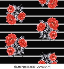 Seamless pattern of red flowers of peony on the black background with white horizontal stripes. Watercolor