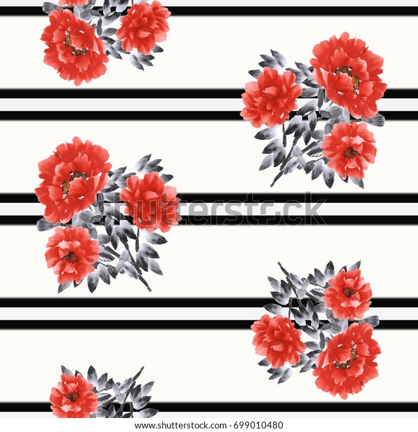 Seamless pattern of red flowers of peony on a white background with black double horizontal stripes. Watercolor