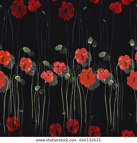 Seamless pattern red flowers poppies green stock illustration seamless pattern of red flowers of poppies with green stems on the black background watercolor mightylinksfo