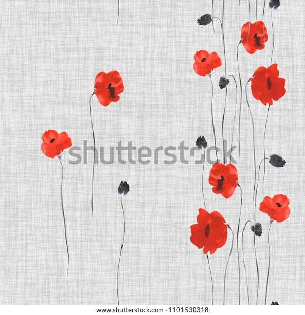 Seamless pattern of red flowers of poppies on a light linen gray background. Watercolor