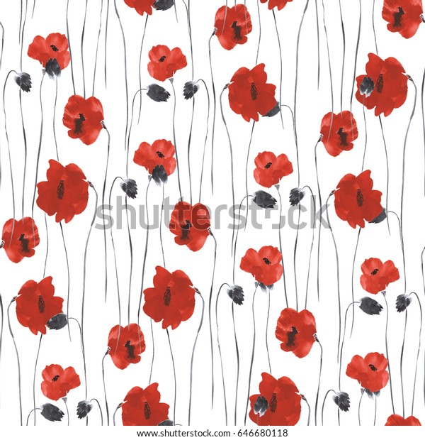 Seamless pattern of red flowers of poppies on a white background. Watercolor - 1