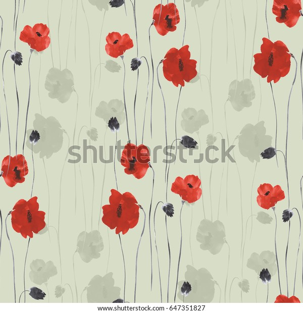 Seamless pattern of red flowers of poppies on a green background. Watercolor