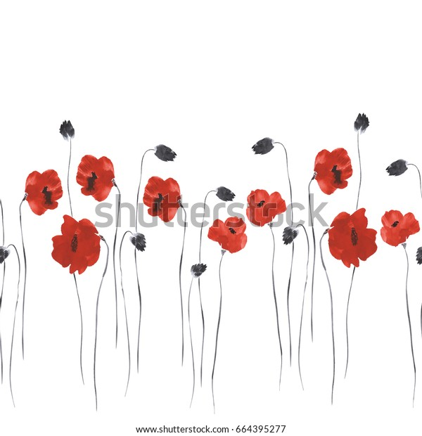 Seamless pattern of red flowers of poppies on a white background. Watercolor-2
