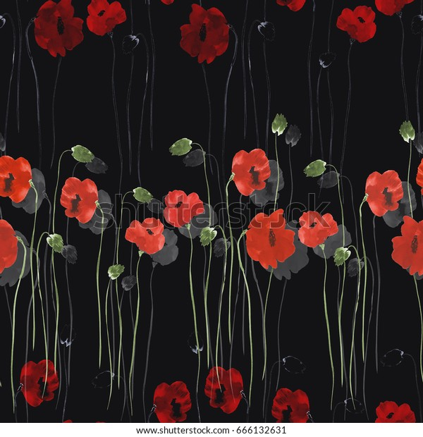 Seamless pattern of red flowers of poppies with green stems on the black background. Watercolor