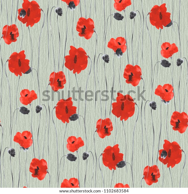 Seamless pattern of red flowers of poppy on a green background. Watercolor