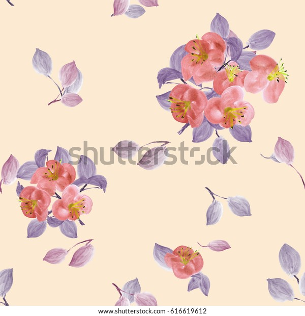 Seamless pattern of red flowers and violet branches on a light beige  background. Watercolor