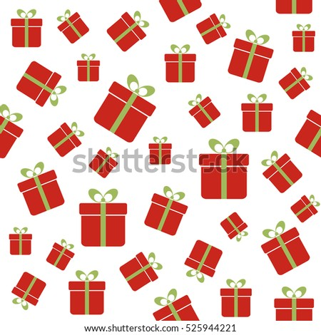 Seamless Pattern Red Gift Boxes Christmas Stock Illustration
