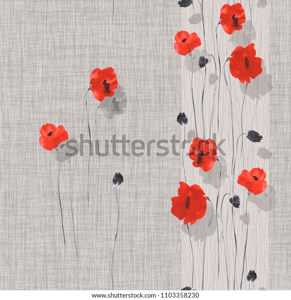 Seamless pattern of red and gray flowers of poppy on a gray background with vertical strip. Watercolor -1