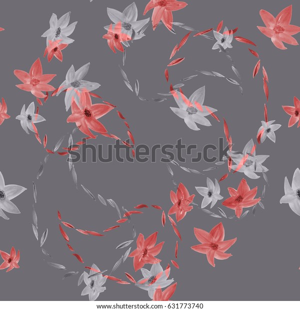 Seamless pattern of red and gray flowers with paisley on a deep background. Watercolor