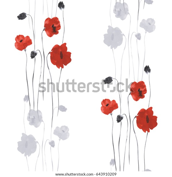 Seamless pattern of red and gray flowers of poppies on a white background. Watercolor
