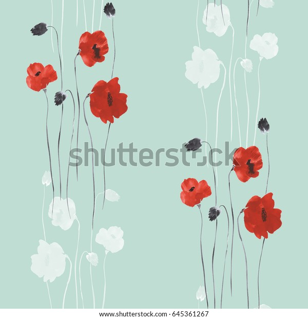 Seamless pattern of red and gray flowers of poppies on a green background. Watercolor