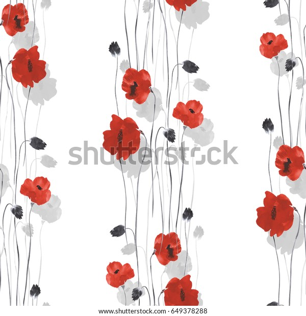 Seamless pattern of red and gray flowers of poppies on a white background. Watercolor -1