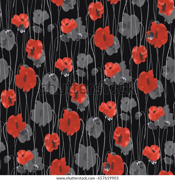 Seamless pattern of red and gray flowers of poppies on a the black background. Watercolor