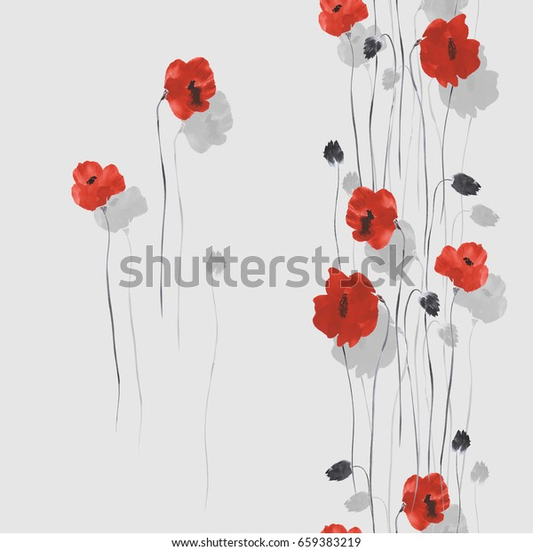 Seamless pattern of red and gray flowers of poppies on a light gray background. Watercolor