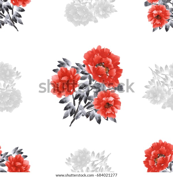 Seamless pattern of red and gray flowers of peonies on a white background. Watercolor