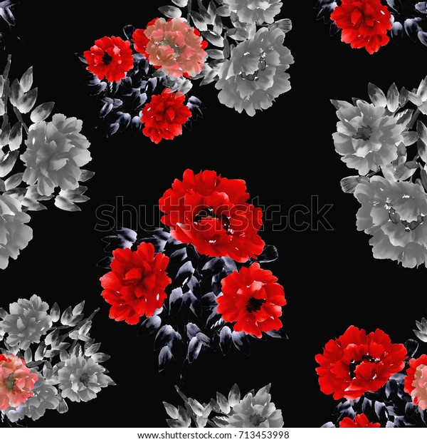 Seamless pattern of red and gray flowers of peony on a black background. Watercolor