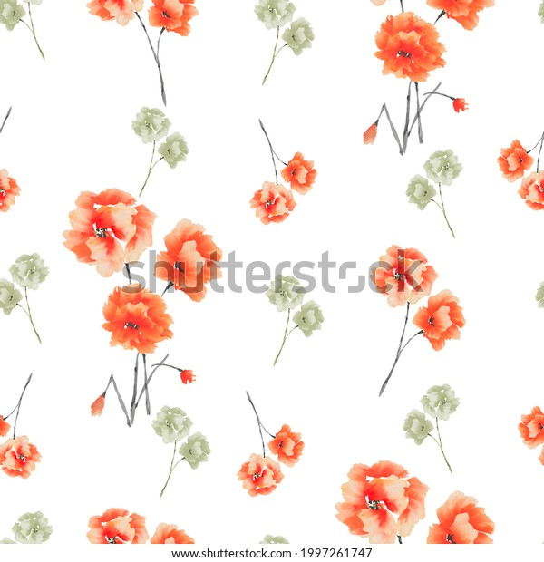 Seamless pattern of red and green flowers and bouquets on a white background. Watercolor