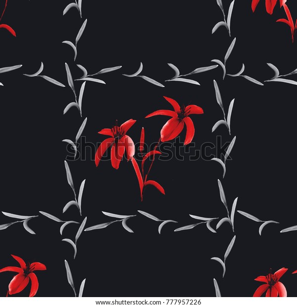Seamless pattern of red lilies in a gray cell of plants on the black background. Watercolor