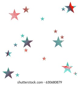Seamless pattern. Red and mint green stars with brush texture on white background. Isolated stars