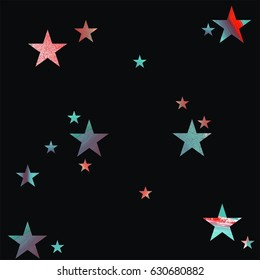 Seamless pattern. Red and mint green stars with brush texture on black background