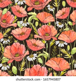 Seamless pattern with red poppies and daisies on a dark background