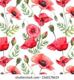 Seamless pattern with red poppies. Watercolor flowers isolated on white. Hand painting illustration for interior decoration, textile printing, printed issues, invitation and greeting cards.
