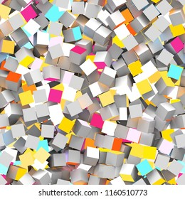 Seamless pattern of red, turquoise, gray and yellow colored cubes. 3d illustration