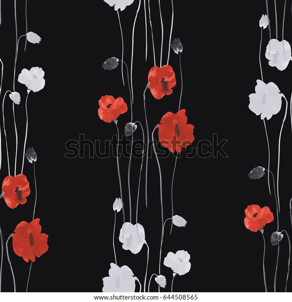 Seamless pattern of red and white flowers of poppies on the black background. Watercolor