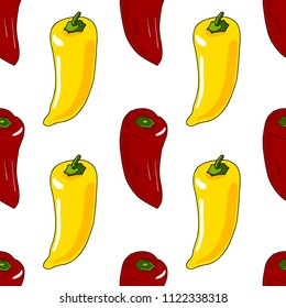 Seamless pattern of red and yellow sweet peppers for backgrond.