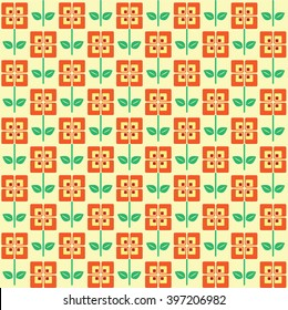 A seamless pattern of retro style flowers, in 1960 colour scheme.