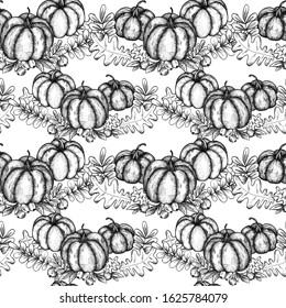 Seamless pattern, ripe pumpkins, graphics, black and white background