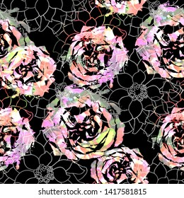 Seamless pattern rockabilly design. Mixed background with different flowers and watercolor effect. Textile print for bed linen, jacket, package design, fabric and fashion concepts.