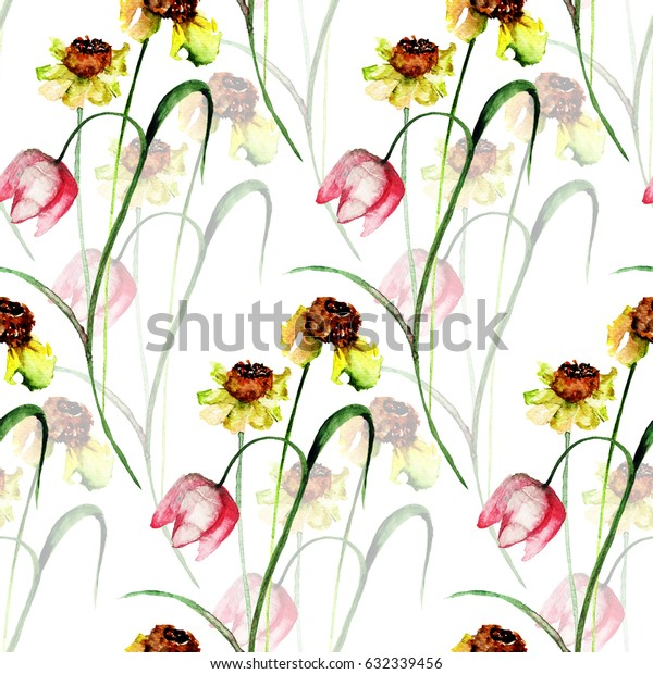 Seamless pattern with romantic flowers, Watercolor painting